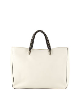 BOYY Jacques Chain-Trim Leather Tote Bag, Ivory