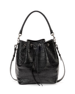 Saint Laurent Medium Croc-Print Bucket Shoulder Bag, Black