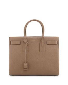 Saint Laurent Sac de Jour Grained Leather Carryall, Taupe