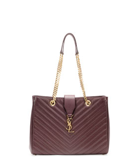 Saint Laurent Monogramme Matelasse Shopper Bag, Bordeaux