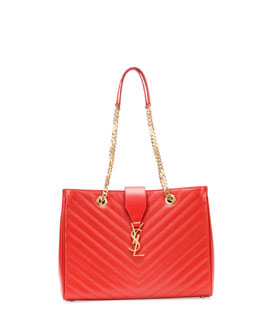 Saint Laurent Monogramme Matelasse Shopper Bag, Red