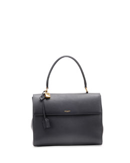 Saint Laurent Moujik Large Calfskin Satchel Bag, Navy
