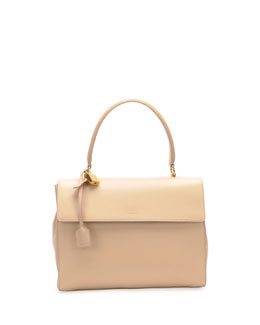 Saint Laurent Moujik Large Calfskin Satchel Bag, Nude