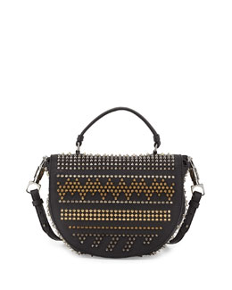 Christian Louboutin Panettone Spiked Chevron Messenger Bag, Black Multi