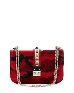Valentino Medium Camo Rockstud Lock Bag, Red