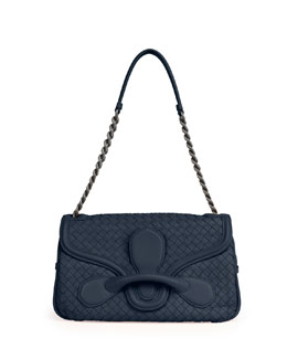 Bottega Veneta Medium Intrecciato Flap Shoulder Bag, Navy
