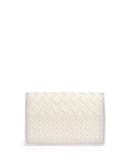 Bottega Veneta Intrecciato Medium Woven Clutch Bag, White