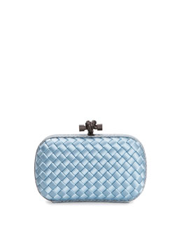 Bottega Veneta Woven Satin Knot Minaudiere, Light Blue