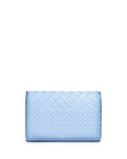 Bottega Veneta Intrecciato Medium Woven Clutch Bag, Light Blue