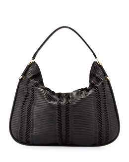 Jimmy Choo Zoe Large Pleated Hobo Bag, Black