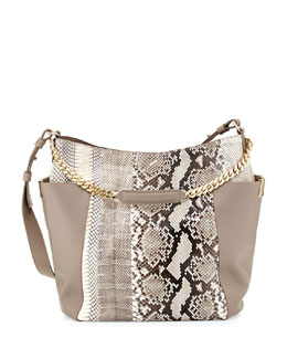 Jimmy Choo Anna Python Shoulder Bag, Natural