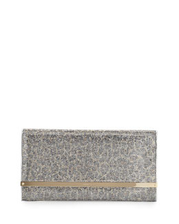 Jimmy Choo Maia Large Leopard-Print Glitter Clutch Bag