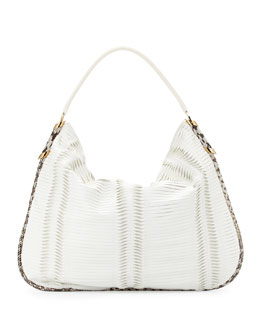 Jimmy Choo Zoe Large Pleated Hobo Bag, White
