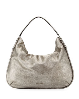 Jimmy Choo Zoe Large Metallic Hobo Bag, Gunmetal