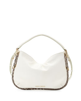 Jimmy Choo Zoe Small Metallic Shoulder Bag, White