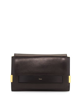 Chloe Elle Large Clutch Bag with Chain Strap, Black