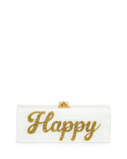 Edie Parker Flavia Acrylic Happy Clutch Bag, White/Gold
