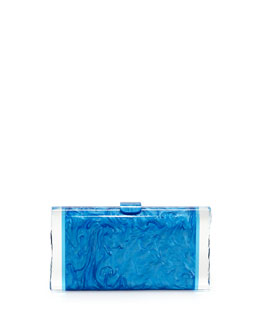 Edie Parker Lara Acrylic Ice Clutch Bag, Blue