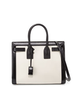 Saint Laurent Sac De Jour Small Carryall, White/Black
