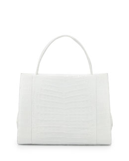 Nancy Gonzalez Wallis Crocodile Satchel Bag, White Shiny