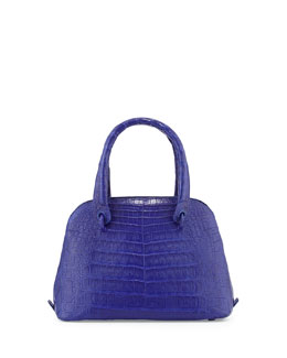 Nancy Gonzalez Crocodile Small Dome Satchel Bag, Cobalt Blue