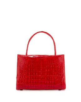 Nancy Gonzalez Wallis Small Crocodile Satchel Bag, Red Shiny