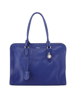 Alexander McQueen Padlock Small Zip-Around Tote Bag, Blue