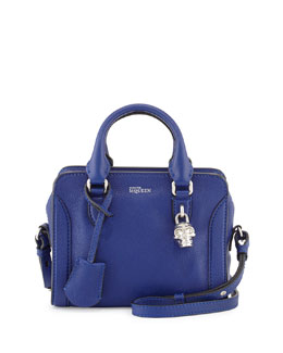 Alexander McQueen Mini Padlock Satchel Bag, Blue