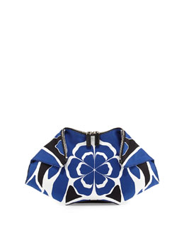 Alexander McQueen De-Manta Floral-Print Clutch Bag, Black/Blue/White