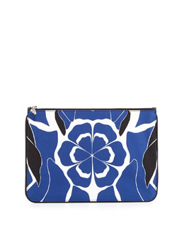 Floral-Print Skull Zip Pouch, Black/Blue/White