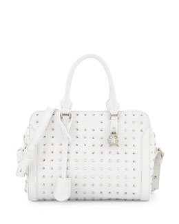 Alexander McQueen Small Studded Padlock Tote Bag, White