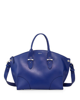 Alexander McQueen Legend Leather Satchel Bag, Blue