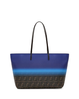 Fendi Painted Zucca Medium Roll Tote Bag, Cobalt