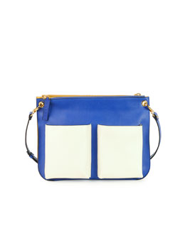 Marni Bandoleer Tricolor Messenger Bag, Blue Multi