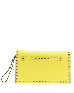 Valentino Rockstud Flap Wristlet Clutch Bag, Yellow