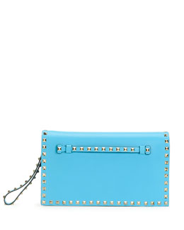 Valentino Rockstud Flap Wristlet Clutch Bag, Blue