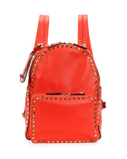Valentino Rockstud Medium Backpack, Red