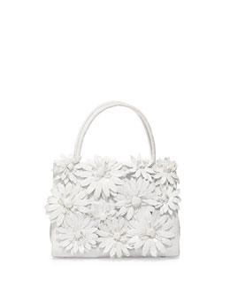 Nancy Gonzalez Crocodile Flower Small Top Handle Bag, White