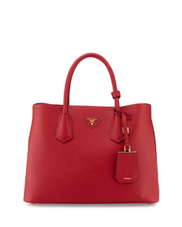 Prada Saffiano Cuir Small Double Tote Bag, Red (Fuoco)