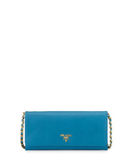 Prada Saffiano Wallet on Chain, Turquoise (Celeste)
