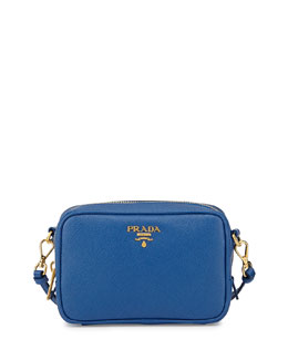 Prada Saffiano Small Crossbody Bag, Cobalt Blue (Azzuro)