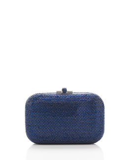 Judith Leiber Couture Crystal Slide-Lock Clutch Bag, Silver/Capri Blue