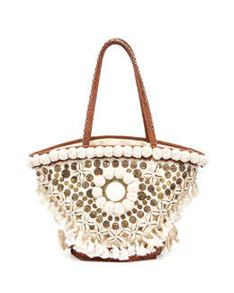 Figue Medium Tuk Tuk Tote Bag, Ivory/Brown