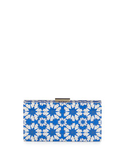 Crane-Print Hard-Shell Clutch Bag, Blue/White