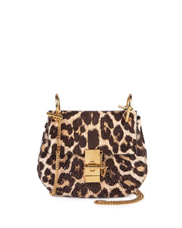 Chloe Drew Mini Chain Shoulder Bag, Leopard
