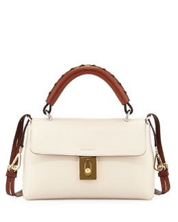 Chloe Fedora Calfskin Satchel Bag, Off White
