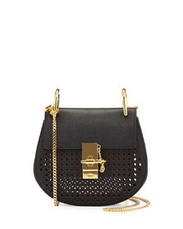 Chloe Drew Perforated Mini Shoulder Bag, Black