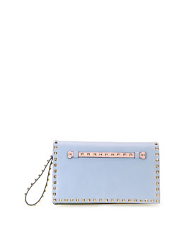 Valentino Rockstud Flap Wristlet Clutch Bag, Watercolor