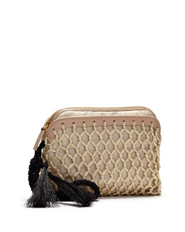 THE ROW Macrame Nylon Wristlet, Beige