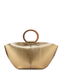 THE ROW Metallic Leather Market Bag, Gold